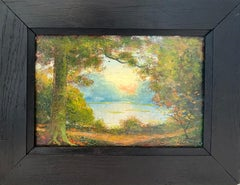 French Impressionist Ecole de Paris Painting - Sunset in a Park - Landscape Lake
