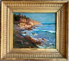 French 19th century impressionist painting Sea French Riviera Cote d'Azur Coast