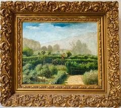 French Impressionist Ecole de Paris Painting - Flower Garden - Rose Figurative