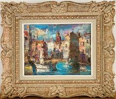 "American impressionist painting - "" The Harbour of St. Tropez"" - Cote d'Azur 70s"
