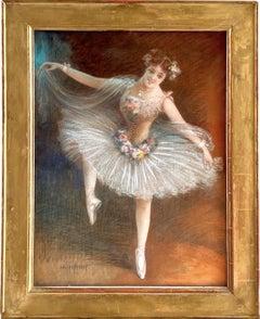 Huge 19th century French pastel painting - La Ballerina - Degas Dancers Dance