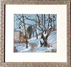 Petite French gouache of a snowy cityscape - Snow Paris watercolour pastel