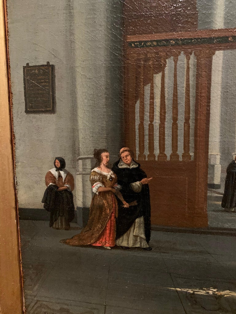 This imposing 17th century dutch old master painting depicts a typical dutch church interior with elements of the Pieterskerk and the Hooglandse kerk in Leiden, the Netherlands. Instead of merely capturing an existing church interior, the artist of