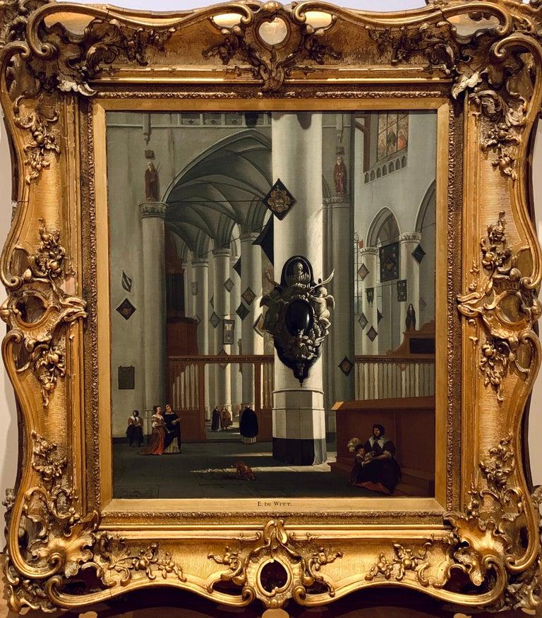 Anthonie Van Borssom  Interior Painting - 17th century dutch church interior - figurative old master religious interior
