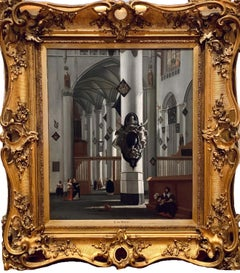 17th century dutch church interior - figurative old master religious interior