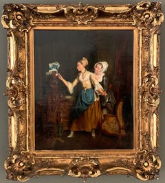 19th century French painting - The playful maids