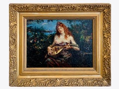 Dutch 19th century impressionist painting - The lute player - Haagse school