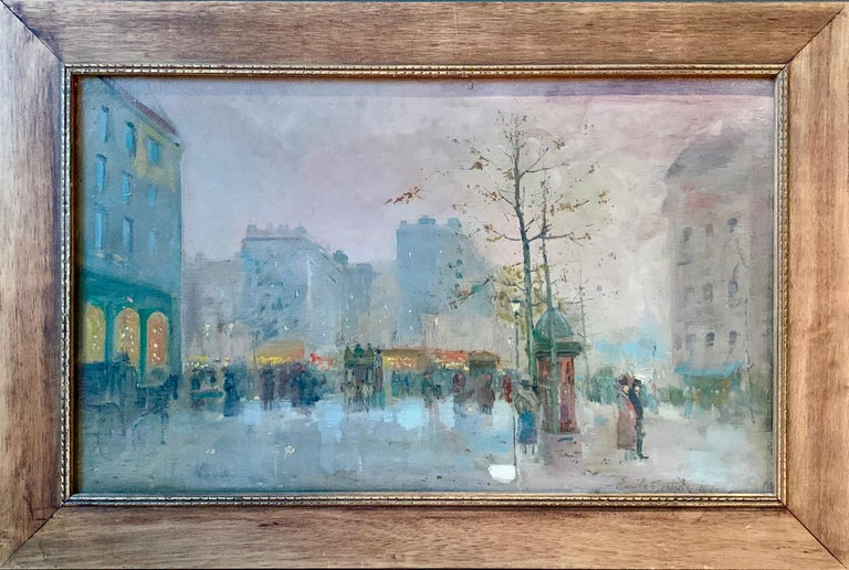 Black friday offer 19th century French impressionistic Parisian cityscape - Painting by Emile Gérard