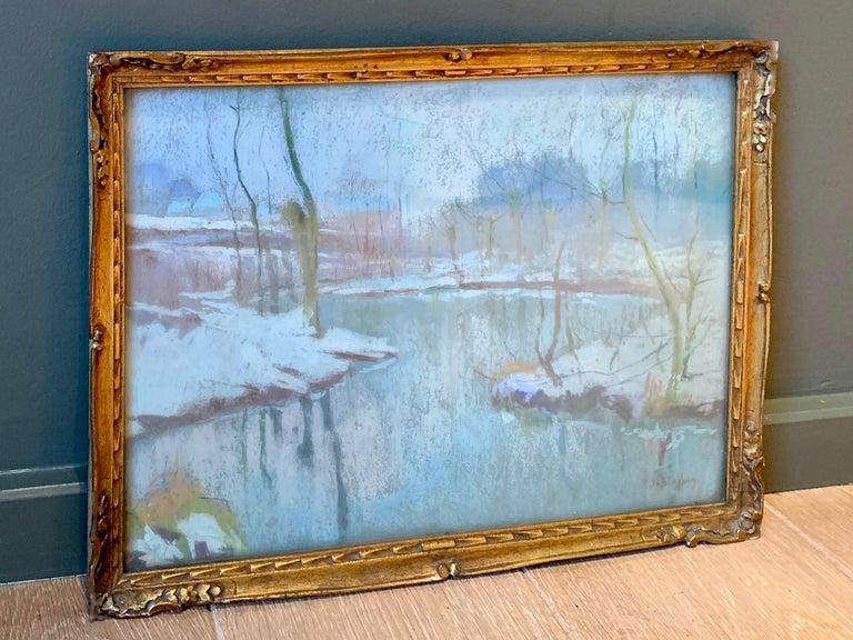 Black Friday 19th century luminist winter snow painting Christmas - Bord de Lys  - Art by Rodolphe de Saegher