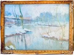 19th century luminist pastel painting - Bord de Lys sous la neige