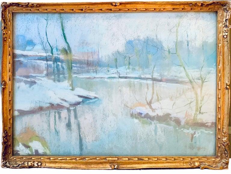 Rodolphe de Saegher Landscape Art - Black Friday 19th century luminist winter snow painting Christmas - Bord de Lys