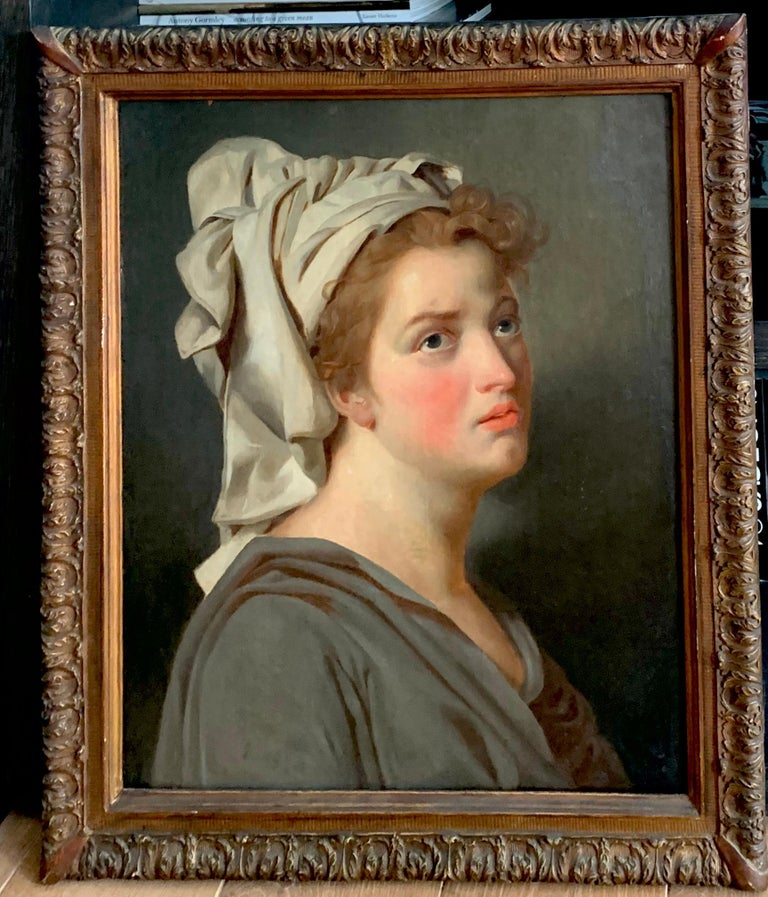 18th century French portrait study - Young Woman with a Turban For Sale 1