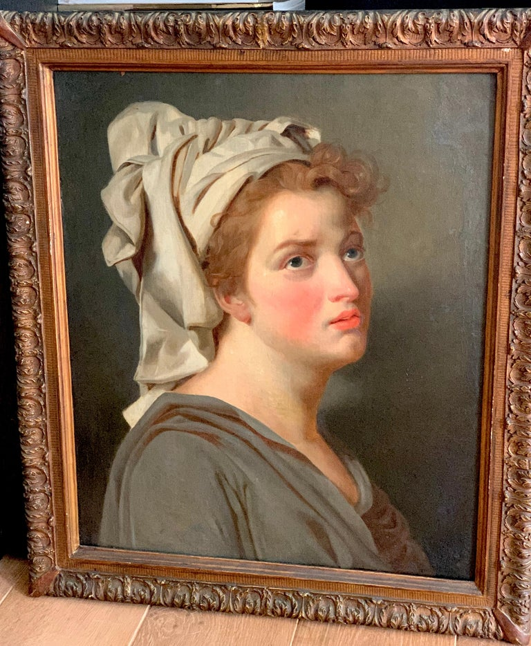 18th century French portrait study - Young Woman with a Turban For Sale 2