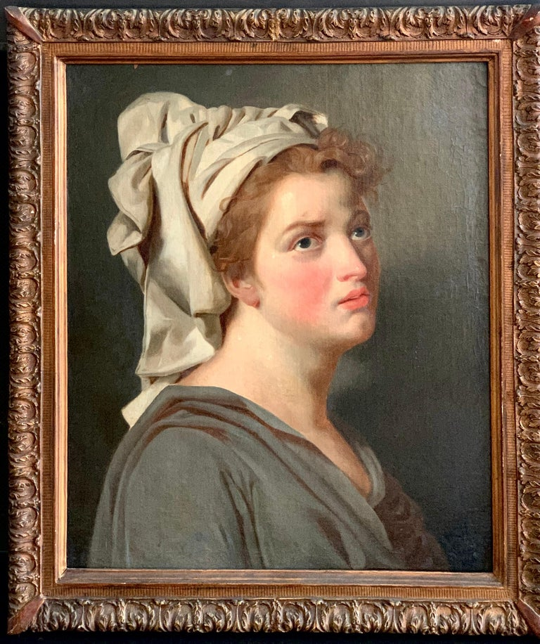 18th century French portrait study - Young Woman with a Turban For Sale 3