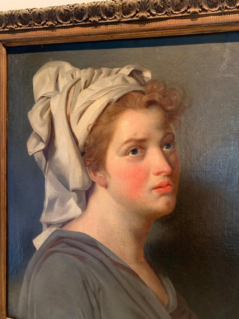 18th century French portrait study - Young Woman with a Turban - Brown Portrait Painting by Jacques-Louis David (workshop/circle)