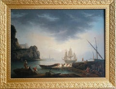 18th century Mediterranean Harbour landscape painting - View of Marseille