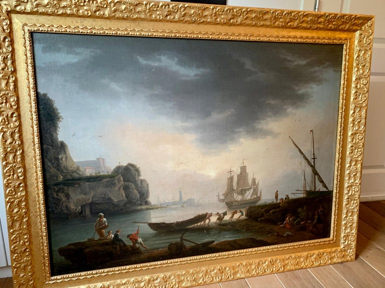 17th century French port painting by Claude François Lacroix de Marseille showing a Mediterranean harbour scene  Both in terms of size and subject, the present work is a perfect example of the skill and painterly method of Lacroix de Marseille. The
