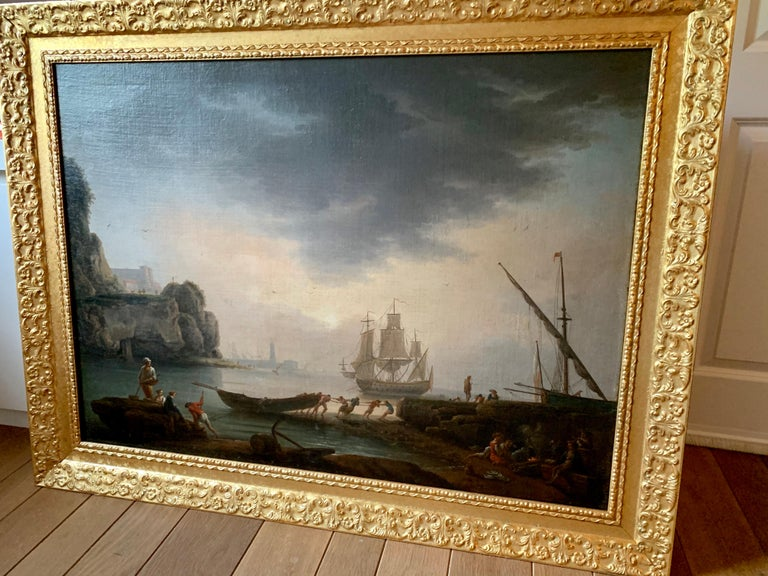 18th century Mediterranean Harbour landscape painting - View of Marseille For Sale 1