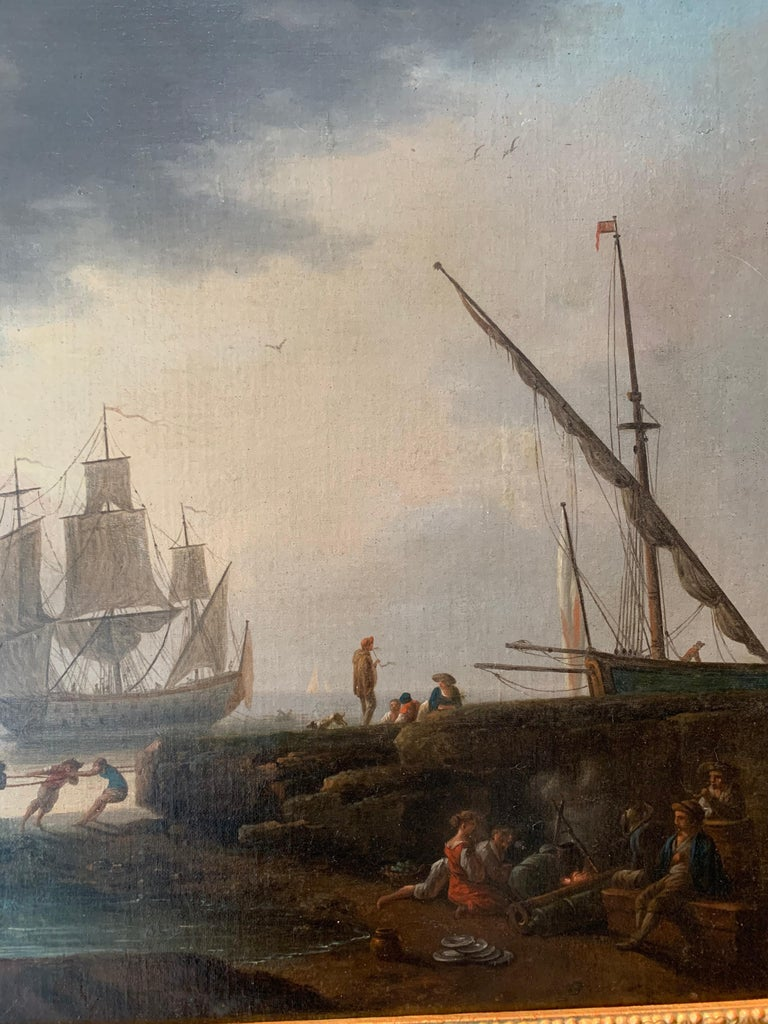 18th century Mediterranean Harbour landscape painting - View of Marseille For Sale 7
