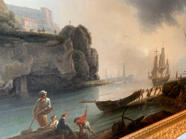 18th century Mediterranean Harbour landscape painting - View of Marseille For Sale 8