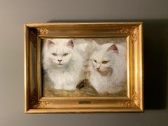 19th century cat painting - Two Snow White British Longhair Cats