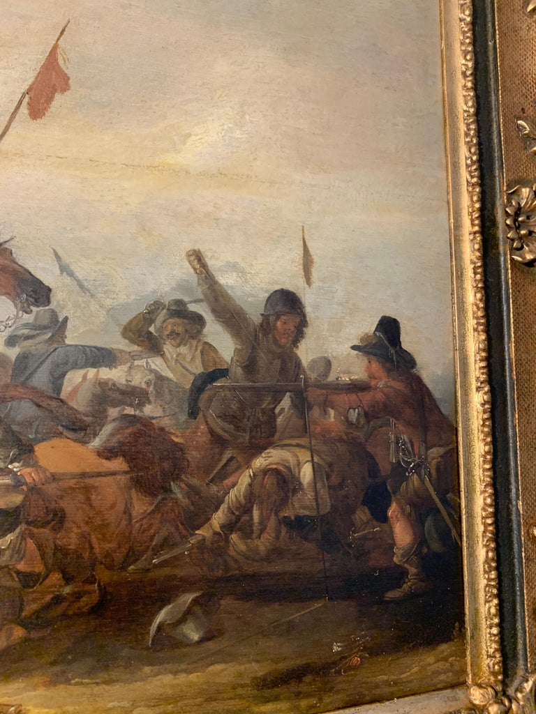 17th century Dutch Old Master painting - Cavalry skirmish For Sale 11