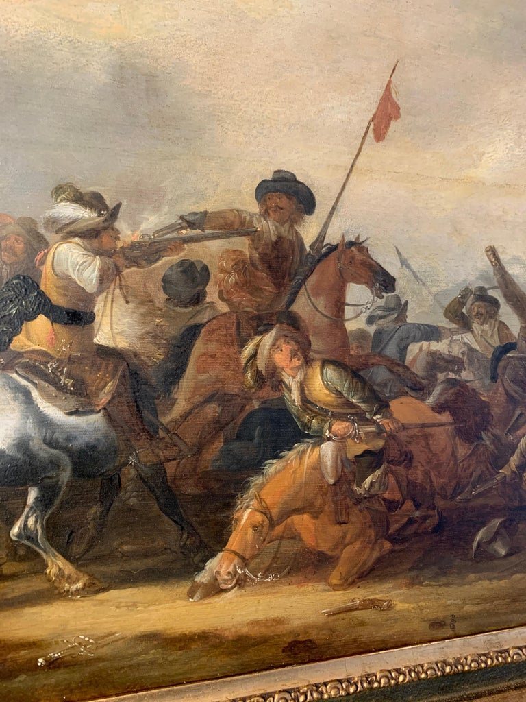17th century Dutch Old Master painting - Cavalry skirmish For Sale 10
