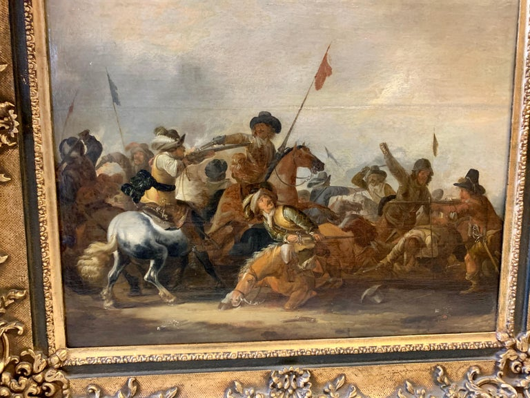 17th century Dutch Old Master painting - Cavalry skirmish For Sale 9