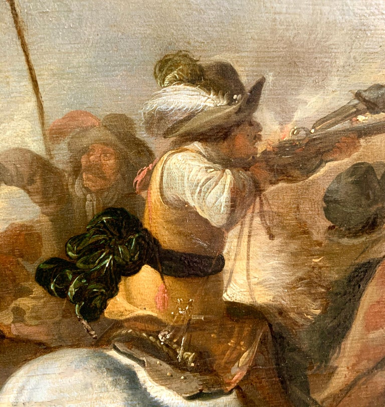 17th century Dutch Old Master painting - Cavalry skirmish For Sale 5