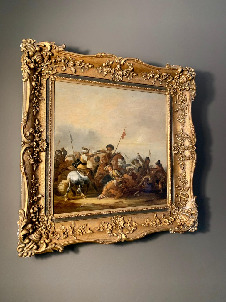 17th century Dutch Old Master painting - Cavalry skirmish For Sale 2