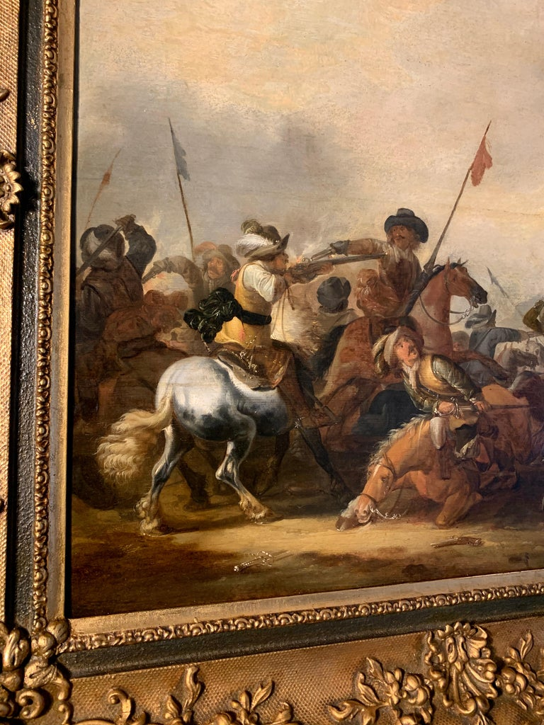17th century Dutch Old Master painting - Cavalry skirmish For Sale 8