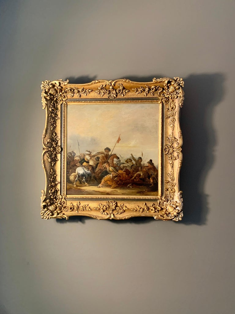 17th century Dutch Old Master painting - Cavalry skirmish For Sale 3