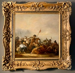 17th century Dutch Old Master painting - Cavalry skirmish