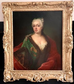 17th century French Portrait painting of a noble lady wearing an elegant gown