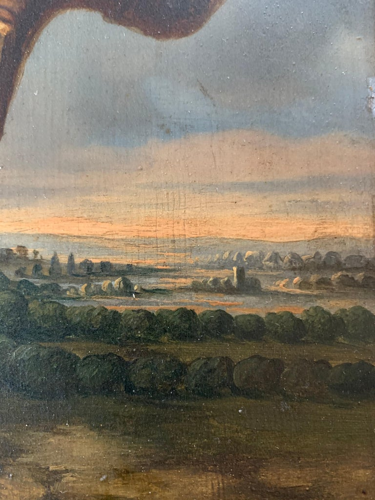 19th century figurative dutch landscape painting - Returning from the hunt  - Naturalistic Painting by Leonardus Raphael van den Braak