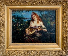 Nude in Landscape - Impressionist art Dutch 19th century oil painting - Music