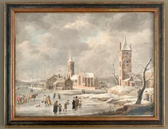 Dutch Old Master - A snowy winter landscape with figures skating - Figurative