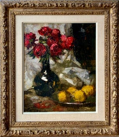 """19th century Impressionist painting of red roses in a vase - """" Roses Rouges"""""""