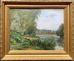 French 19th century Impressionist Barbizon Landscape Paris River Bank Forest