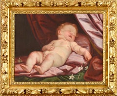 17th century Italian Old Master Baroque painting of a sleeping cupid - putti