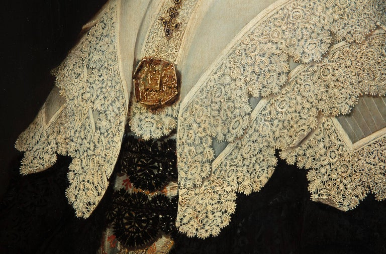 17th century Dutch Old Master Portait of a lady - lace collar jewellery For Sale 1