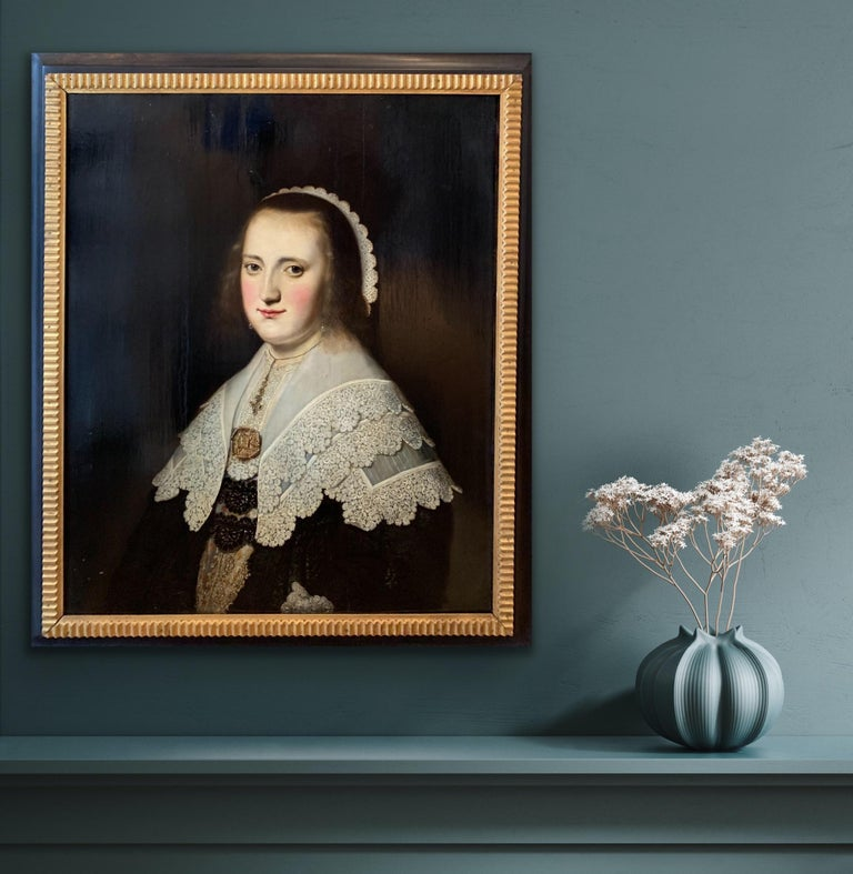 17th century Dutch Old Master Portait of a lady - lace collar jewellery - Old Masters Painting by Paulus Hennekin