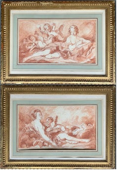Large Pair 18th century French Rococo Drawings - Figurative Putti Romantic Venus