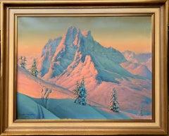 19th century Alpine view at dusk - Mountains Snow Winter Landscape