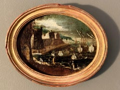 17th century Italian Exotic Harbor View Old Master Painting