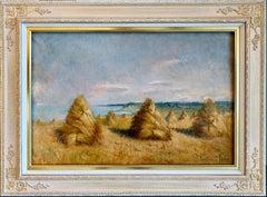 Impressionist landscape - Hay Harvest in France - Female Artist painting Monet