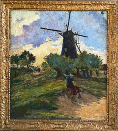 19th cen. French impressionist painting - Summer Day in the Country - Figurative