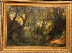 19th century German painting - Deer family in a forest - Romantic Landscape