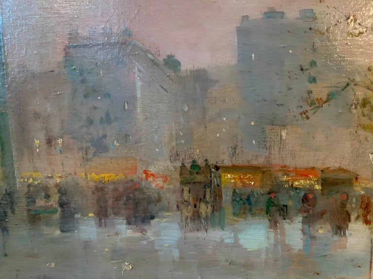 19th century French impressionistic Parisian cityscape - Impressionist Painting by Emile Gérard