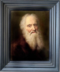 18th century German Portrait Painting - Hyperrealistic Old Master Philosopher